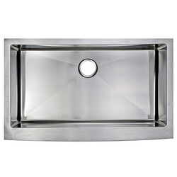 WATER-CREATION SS-AS-3622B-16 36 X 22 INCH 15MM CORNER RADIUS SINGLE BOWL STAINLESS STEEL HAND MADE APRON FRONT KITCHEN SINK
