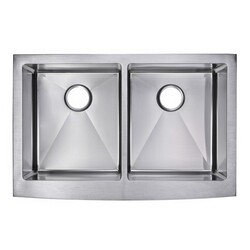 WATER-CREATION SSS-AD-3322C 33 X 22 INCH 15MM CORNER RADIUS 50/50 DOUBLE BOWL STAINLESS STEEL HAND MADE APRON FRONT KITCHEN SINK WITH DRAINS AND STRAINERS