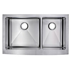 WATER-CREATION SSS-AD-3622B-16 36 X 22 INCH 15MM CORNER RADIUS 60/40 DOUBLE BOWL STAINLESS STEEL HAND MADE APRON FRONT KITCHEN SINK WITH DRAINS AND STRAINERS