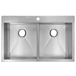 WATER-CREATION SS-TD-3322A 33 X 22 INCH ZERO RADIUS 50/50 DOUBLE BOWL STAINLESS STEEL HAND MADE DROP IN KITCHEN SINK