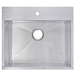 WATER-CREATION SS-TS-2522A-16 25 X 22 INCH ZERO RADIUS SINGLE BOWL STAINLESS STEEL HAND MADE DROP IN KITCHEN SINK