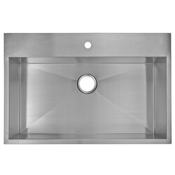 WATER-CREATION SS-TS-3322A 33 X 22 INCH ZERO RADIUS SINGLE BOWL STAINLESS STEEL HAND MADE DROP IN KITCHEN SINK