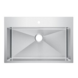 WATER-CREATION SS-TS-3322B-16 33 X 22 INCH SMALL RADIUS SINGLE BOWL STAINLESS STEEL HAND MADE DROP IN KITCHEN SINK