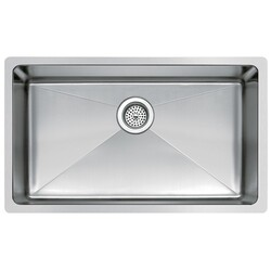WATER-CREATION SS-U-3018B 30 X 18 INCH SINGLE BOWL STAINLESS STEEL HAND MADE UNDERMOUNT KITCHEN SINK WITH COVED CORNERS