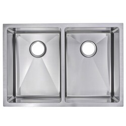 WATER-CREATION SS-UD-2920A 29 X 20 INCH 15MM CORNER RADIUS 50/50 DOUBLE BOWL STAINLESS STEEL HAND MADE UNDERMOUNT KITCHEN SINK
