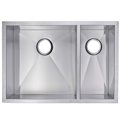 WATER-CREATION SS-UD-2920A-16 29 X 20 INCH ZERO RADIUS 70/30 DOUBLE BOWL STAINLESS STEEL HAND MADE UNDERMOUNT KITCHEN SINK