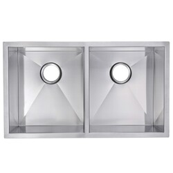 WATER-CREATION SS-UD-3118B-16 31 X 18 INCH 50/50 DOUBLE BOWL STAINLESS STEEL HAND MADE UNDERMOUNT KITCHEN SINK WITH COVED CORNERS