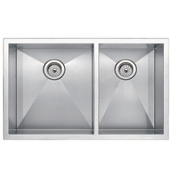 WATER-CREATION SS-UD-3320A-16 33 X 20 INCH ZERO RADIUS 60/40 DOUBLE BOWL STAINLESS STEEL HAND MADE UNDERMOUNT KITCHEN SINK