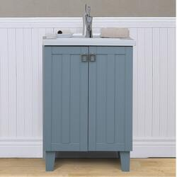 INFURNITURE IN3724-BL 24 INCH SINGLE SINK BATHROOM VANITY IN BLUE WITH THICK EDGE CERAMIC TOP