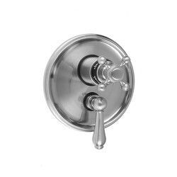 JACLO T6534-TRIM ROUND STEP PLATE WITH BALL CROSS THERMOSTATIC VALVE AND REGENCY LEVER VOLUME CONTROL TRIM FOR 1/2 INCH THERMOSTATIC VALVE WITH INTEGRAL VOLUME CONTROL (J-THVC12)