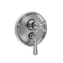 JACLO T6586-TRIM ROUND STEP PLATE WITH HEX CROSS THERMOSTATIC VALVE AND HEX LEVER VOLUME CONTROL TRIM FOR 1/2 INCH THERMOSTATIC VALVE WITH INTEGRAL VOLUME CONTROL (J-THVC12)