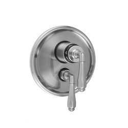JACLO T6757-TRIM ROUND STEP PLATE WITH SMOOTH LEVER THERMOSTATIC VALVE AND SMOOTH LEVER VOLUME CONTROL TRIM FOR 1/2 INCH THERMOSTATIC VALVE WITH INTEGRAL VOLUME CONTROL (J-THVC12)