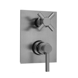 JACLO T7530-TRIM RECTANGLE PLATE WITH CONTEMPO LOW LEVER THERMOSTATIC VALVE WITH CONTEMPO CROSS BUILT-IN 2-WAY OR 3-WAY DIVERTER/VOLUME CONTROLS (J-TH34-686 / J-TH34-687 / J-TH34-688 / J-TH34-689)