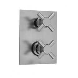 JACLO T7532-TRIM RECTANGLE PLATE WITH CONTEMPO CROSS THERMOSTATIC VALVE WITH CONTEMPO CROSS BUILT-IN 2-WAY OR 3-WAY DIVERTER/VOLUME CONTROLS (J-TH34-686 / J-TH34-687 / J-TH34-688 / J-TH34-689)