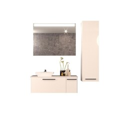 CASA MARE HELMOS100GW-40 HELMOS 40 INCH SINGLE SINK MODERN WALL MOUNT BATHROOM VANITY SET WITH MIRROR IN GLOSSY WHITE
