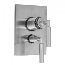 JACLO T6549-TRIM RECTANGLE PLATE WITH SLIM LEVER THERMOSTATIC VALVE AND SLIM LEVER VOLUME CONTROL TRIM FOR 1/2 INCH THERMOSTATIC VALVE WITH INTEGRAL VOLUME CONTROL (J-THVC12)