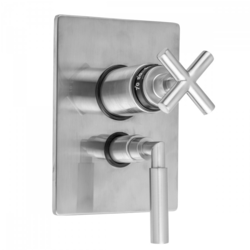 JACLO T6562-TRIM RECTANGLE PLATE WITH SLIM CROSS THERMOSTATIC VALVE AND SLIM LEVER VOLUME CONTROL TRIM FOR 1/2 INCH THERMOSTATIC VALVE WITH INTEGRAL VOLUME CONTROL (J-THVC12)