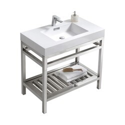KUBEBATH AC36 CISCO 36 INCH STAINLESS STEEL CONSOLE WITH ACRYLIC SINK IN CHROME