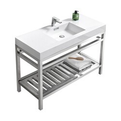 KUBEBATH AC48 CISCO 48 INCH STAINLESS STEEL CONSOLE WITH ACRYLIC SINK IN CHROME