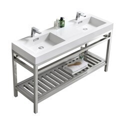 KUBEBATH AC60D CISCO 60 INCH DOUBLE SINK STAINLESS STEEL CONSOLE WITH ACRYLIC SINK IN CHROME