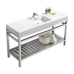KUBEBATH AC60S CISCO 60 INCH SINGLE SINK STAINLESS STEEL CONSOLE WITH ACRYLIC SINK IN CHROME