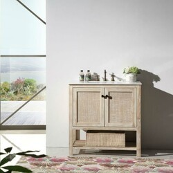 LEGION FURNITURE WH5136 36 INCH SOLID WOOD VANITY IN WHITE WASH WITH CARRARA MARBLE TOP, NO FAUCET