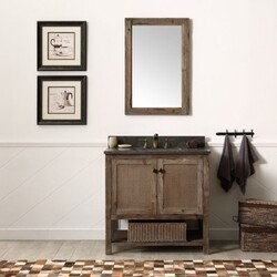 LEGION FURNITURE WH5136-BR 36 INCH SOLID WOOD VANITY IN BROWN WITH MOON STONE TOP, NO FAUCET