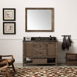 LEGION FURNITURE WH5148-BR 48 INCH SOLID WOOD VANITY IN BROWN WITH MOON STONE TOP, NO FAUCET