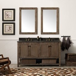 LEGION FURNITURE WH5160-BR 60 INCH SOLID WOOD VANITY IN BROWN WITH MOON STONE TOP, NO FAUCET