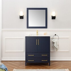 LEGION FURNITURE WA7930-B 30 INCH SOLID WOOD VANITY SET WITH MIRROR IN BLUE, NO FAUCET