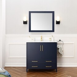 LEGION FURNITURE WA7936-B 36 INCH SOLID WOOD INCH VANITY SET WITH MIRROR IN BLUE, NO FAUCET