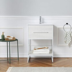 LEGION FURNITURE WH7024-WW 24 INCH WHITE VANITY WITH WHITE METAL FRAME