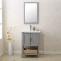 LEGION FURNITURE WLF6021-G 24 INCH VANITY SET WITH MIRROR, UPC FAUCET AND BASKET IN GRAY