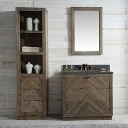 LEGION FURNITURE WH8536 36 INCH WOOD VANITY IN BROWN WITH MARBLE WH5136 TOP, NO FAUCET