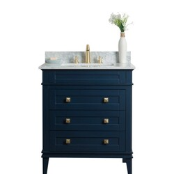 LEGION FURNITURE WS3130-B 30 INCH SOLID WOOD VANITY IN BLUE, NO FAUCET