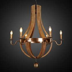 LEGION FURNITURE LR3051-35 35 INCH IRON CHANDELIER IN ANTIQUE BRASS WOOD WITH NATURAL OLD WOOD