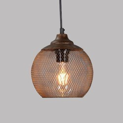 LEGION FURNITURE LR6359-07 7 INCH IRON PENDANT IN ANTIQUE BROWN WITH SPOTTED GOLD COVER