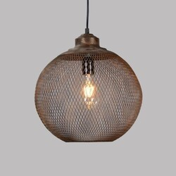 LEGION FURNITURE LR6359-14 14 INCH IRON PENDANT IN ANTIQUE BROWN WITH SPOTTED GOLD COVER