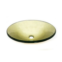 LEGION FURNITURE ZA-189 18 INCH TEMPERED GLASS SINK IN ANTIQUE GOLD WITH POP-UP DRAIN AND MOUNTING RING