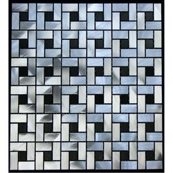 LEGION FURNITURE MS-ALUMINUM15 ALUMINUM TILE IN SILVER AND BLACK
