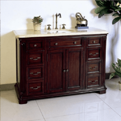 LEGION FURNITURE W5428-11-48 48 INCH SINK SOLID WOOD VANITY IN DARK CHERRY BROWN, NO FAUCET