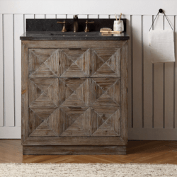 LEGION FURNITURE WH8736 36 INCH WOOD VANITY IN BROWN WITH MARBLE WH5136 TOP, NO FAUCET