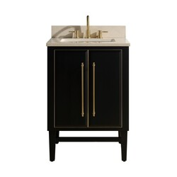 AVANITY MASON-VS25-BKG-D MASON 25 INCH VANITY COMBO IN BLACK WITH GOLD TRIM AND CREMA MARFIL MARBLE TOP
