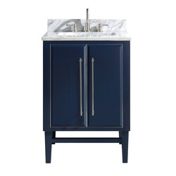AVANITY MASON-VS25-NBS-C MASON 25 INCH VANITY COMBO IN NAVY BLUE WITH SILVER TRIM AND CARRARA WHITE MARBLE TOP