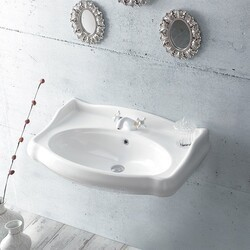 CERASTYLE 030300-U 1837 32 X 21 INCH RECTANGLE WHITE CERAMIC WALL MOUNTED SINK