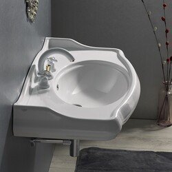 CERASTYLE 030400-U 1837 39 X 21 INCH RECTANGLE WHITE CERAMIC WALL MOUNTED SINK