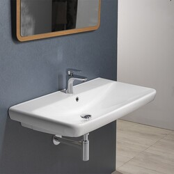 CERASTYLE 030500-U BELO 32 X 19 INCH RECTANGLE WHITE CERAMIC WALL MOUNTED OR SELF RIMMING SINK