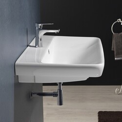 CERASTYLE 030600-U BELO 27 X 19 INCH RECTANGLE WHITE CERAMIC WALL MOUNTED OR SELF RIMMING SINK