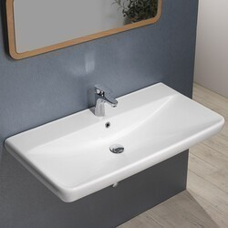 CERASTYLE 030700-U BELO 38 X 19 INCH RECTANGLE WHITE CERAMIC WALL MOUNTED OR SELF RIMMING SINK