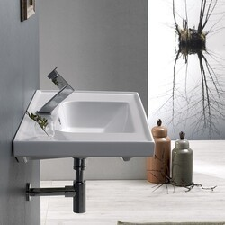CERASTYLE 031200-U FRAME 32 X 18 INCH RECTANGLE WHITE CERAMIC WALL MOUNTED OR SELF RIMMING SINK